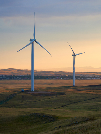 Wind power stations. Wind power wind turbines to mechanically power generators for electric power. A wind farm is a group of wind turbines in the same location.