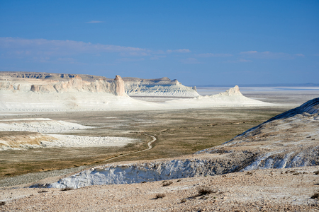 On the Ustyurt Plateau. Desert and plateau Ustyurt or Ustyurt plateau is located in the west of Central Asia, particulor in Kazakhstan, Turkmenistan and Uzbekistan.