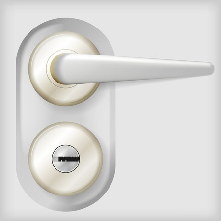 Gray oval door knob with lock and circle elements. Isolated vector illustration on gray background.