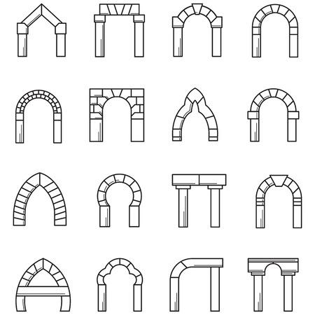Foto de Set of black line icons for different styles brick arches on white background. - Imagen libre de derechos