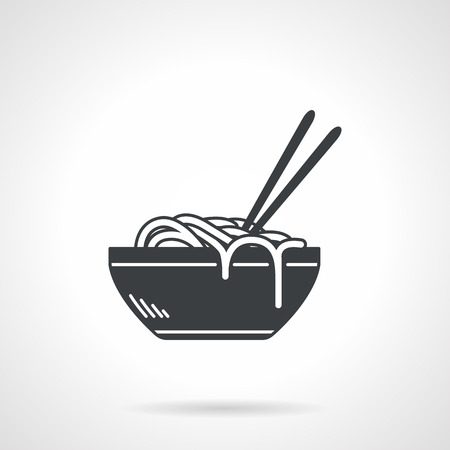 Single black silhouette vector icon for bowl with ramen or noodles with two chopsticks on white background