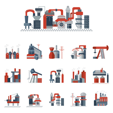 Illustration pour Set of red and gray flat icons for industrial building factory and power plants. Heavy industry, petrochemical industry, metallurgy and other factories for business and website - image libre de droit