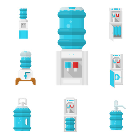Flat color isolated icons for water cooler appliance on white background. Water jug with faucet, portable water cooler, full bottles and other elements for business and web design.