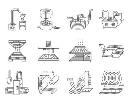 Flat line icons vector collection for elements of food processing.