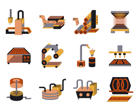 Set of flat color style vector icons for food processing machinery and equipment.