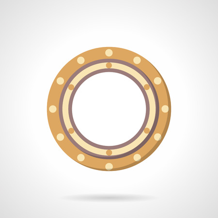 Flat color style roller bearing vector icon. Part of rotate mechanism. Web design elements.