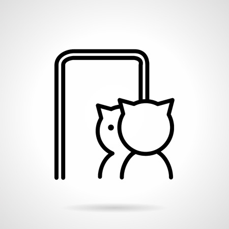 Simple line style vector icon for pets and animals. Cat reflected in mirror. Elements of web design for business.