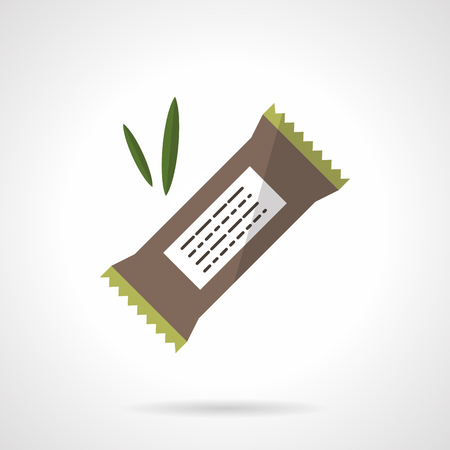Vektor für Organic protein bar with carob, chocolate or cereals. Healthy nutrition. Vegan menu. Vector icon flat color style. Web design element for site, mobile and business. - Lizenzfreies Bild