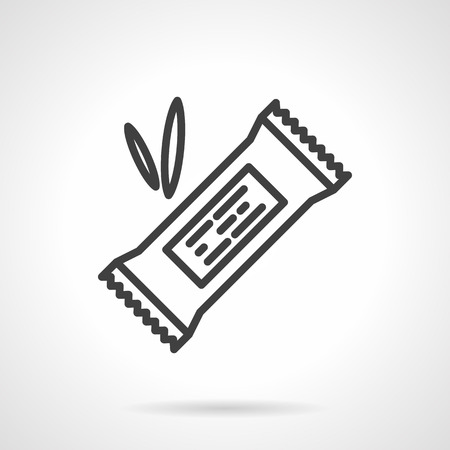 Vektor für Organic sweets. Cereal energy or protein bar in pack with abstract label. Vector icon simple black line style. Single design element for website, business. - Lizenzfreies Bild