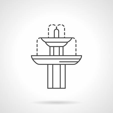 Exterior decoration elements. Landscaping objects. Classic fountain for gardens and parks. Flat line style vector icon. Single design element for website, business.