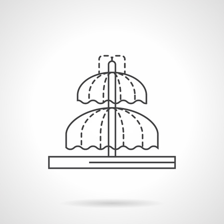 Domed fountain with two levels. Contemporary landscape objects. City waterfall. Flat line style vector icon. Single design element for website, business.