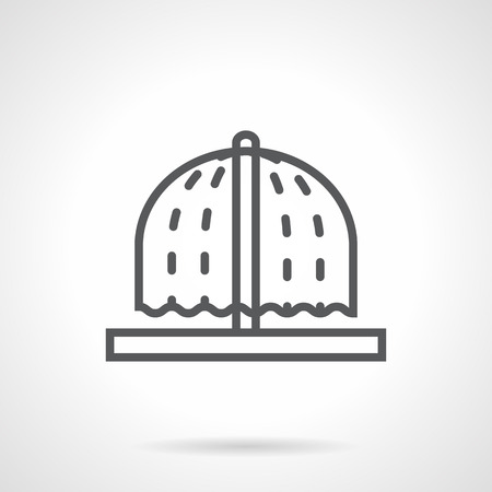 Mushroom shaped fountain with water fall. Freshness in gardens and parks. Architecture and monuments for landscaping. Simple black line vector icon. Single element for web design, mobile app.のイラスト素材