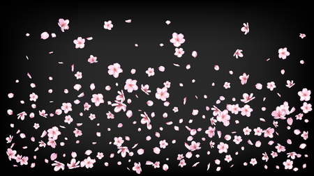 Ilustración de Nice Sakura Blossom Isolated Vector. Feminine Showering 3d Petals Wedding Design. Japanese Funky Flowers Illustration. Valentine, Mother's Day Realistic Nice Sakura Blossom Isolated on Black - Imagen libre de derechos