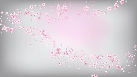 Illustration pour Nice Sakura Blossom Isolated Vector. Tender Flying 3d Petals Wedding Frame. Japanese Beauty Spa Flowers Illustration. Valentine, Mother's Day Realistic Nice Sakura Blossom Isolated on White - image libre de droit