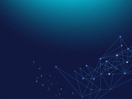 Illustration pour Blue Technology Space, Internet Cyberspace Data Concept. Galaxy Net Computing Design, Universe Star Sky. Lines Linked Plexus Vector Background. Big Data Information, Triangular Network Nodes. - image libre de droit