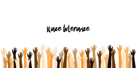 Illustration pour Raised Up Hands in Different Skin Colors. Refugees, Race Tolerance. Teamwork, Voting, Volunteering, Collaboration, Election. Peaceful Demonstration. World Peace Day Banner. Peace Day, Raised Up Hands. - image libre de droit