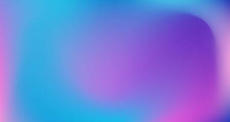 Illustration pour Blue Purple Pink Digital Gradient Background. Fluid Neon Bright Trendy Wallpaper. Fluorescent Noble Vector Color Overlay. Elegant Colorful Vibrant Defocused Horizontal Banner. 80s Glam Gradient Paper - image libre de droit