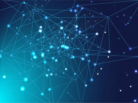 Illustration pour Galaxy Net Science Design, Universe Star Sky. Plexus Lines Nodes Vector Background. Big Data Information, Triangular Blockchain Nodes. Blue Technology Space, Internet Cyberspace Data Concept. - image libre de droit