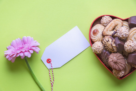 Cute pink Chrysanthemum flower, a box full of delicious cookies and chocolate and a white empty tag with a place for a message, on a green background.