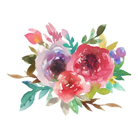 Illustration pour Watercolor rainbow bouquet No 4 - image libre de droit