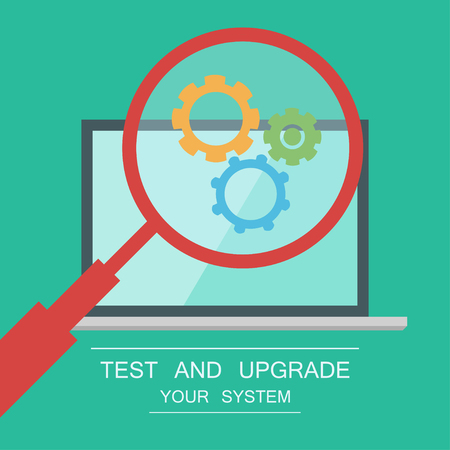 Testing System Icon Functional Testing Software Laptop On Background Magnifier With Cogwheels Inside Test And Protect Your Pc Royalty Free Vector Graphics