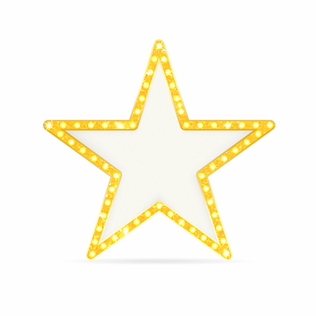 Illustration pour Retro gold star. Vintage frame with lights isolated on white background. Vector - image libre de droit