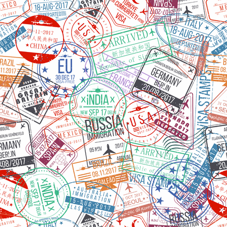 Illustration pour Passport stamp seamless pattern. International arrivals sign rubber, visa stamps. Vector - image libre de droit