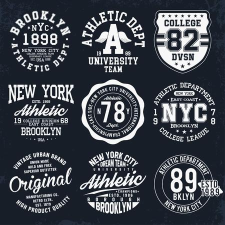 Illustration pour New York, Brooklyn typography, badges set for t-shirt print. Varsity style t-shirt graphics. Vector - image libre de droit