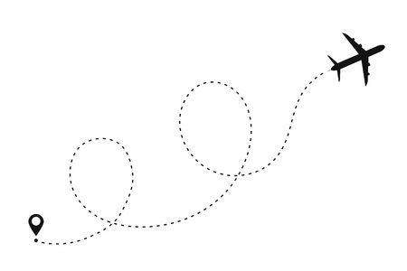 Ilustración de Airplane path in dotted line shape. Route of plane isolated on white background. Vector - Imagen libre de derechos
