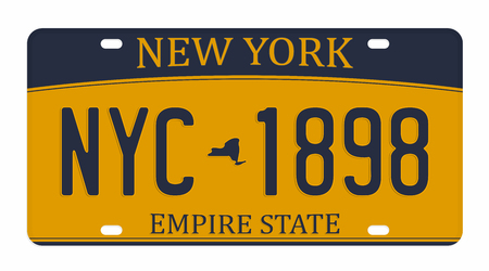 Ilustración de License plate isolated on white background. New York license plate with numbers and letters. Badge for t-shirt graphic. - Imagen libre de derechos