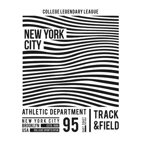 Illustration pour New York typography for t-shirt print. Abstract lines with text for modern tee shirt graphics in varsity style. Vector illustration. - image libre de droit