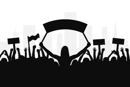 Illustration pour Crowd of protesters people. Silhouettes of people with banners and with raised up hands. Concept of revolution and political or social protest. Vector - image libre de droit