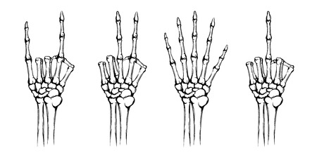 Illustration pour Hands of the skeleton with different gestures. - image libre de droit