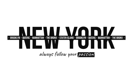 Ilustración de Slogan graphic for t-shirt print. T-shirt design with slogan. New York, modern typography for tee print with stripes. Vector - Imagen libre de derechos