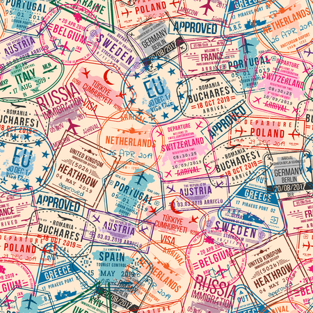 Ilustración de Passport visa stamps, seamless pattern. International and immigration office rubber stamps. Traveling and tourism concept, vintage background. Vector - Imagen libre de derechos