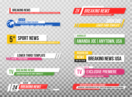 Illustration pour Lower third template. Set of TV banners and bars for news and sport channels, streaming and broadcasting. Collection of lower third for video editing on transparent background. Vector - image libre de droit