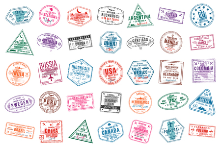 Illustration pour Set of travel visa stamps for passports. International and immigration office stamps. Arrival and departure visa stamps to Europe, America, Asia and Australia. Vector - image libre de droit