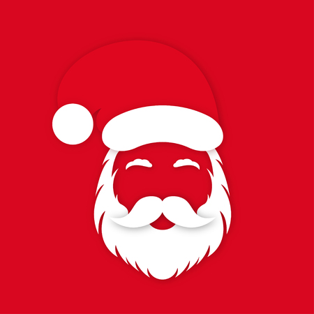 Ilustración de Santa Claus in hat on red background. Santa Claus's face silhouette with lush beard, mustaches and eyebrows. Vector - Imagen libre de derechos