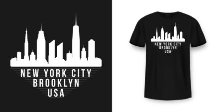Illustration for T-shirt graphic design with New York skyline silhouette in minimalistic style. New York City typography t shirt and apparel design. Urban and authentic print on t-shirt mockup. Vector - Royalty Free Image