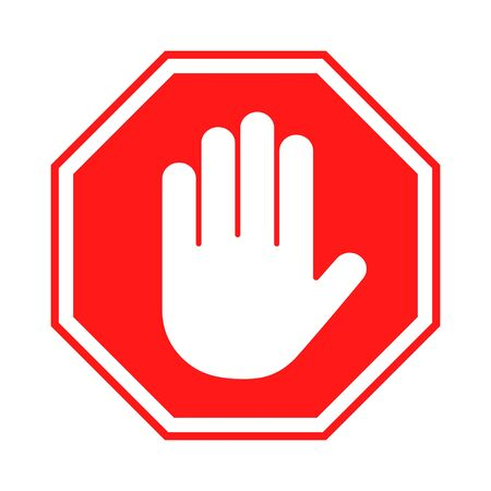 Illustration pour Stop sign. Red forbidding sign with human hand in octagon shape. Stop hand gesture, do not enter, dangerous. Vector - image libre de droit
