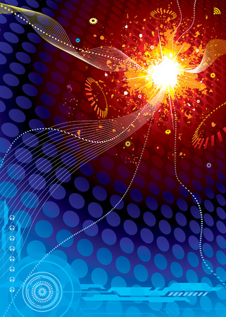 Technology Space Explosion, vector illustration layers file.