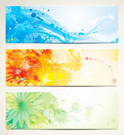 Watercolor style header banners.