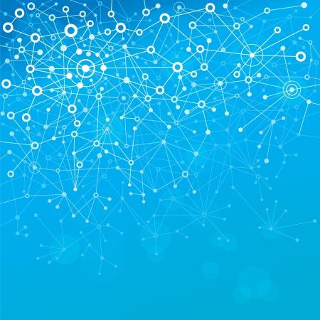 Illustration pour Abstract background of molecules blue. - image libre de droit