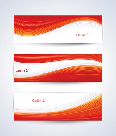 Foto de Website banner set with red wave pattern. - Imagen libre de derechos