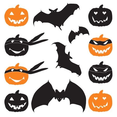 Halloween pumpkin head and bat