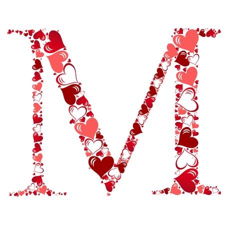 Alphabet of hearts vector illustration