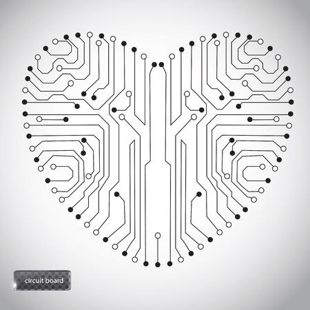 Illustrazione per Circuit board with in heart shape pattern - Immagini Royalty Free