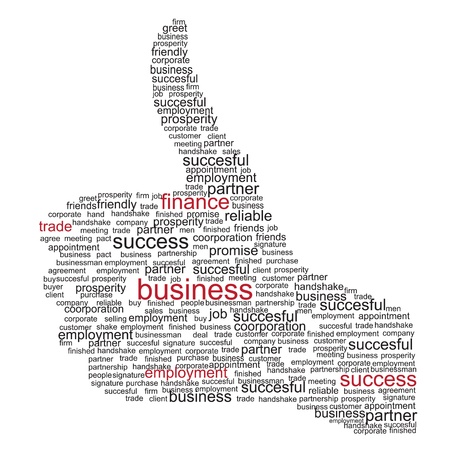 Illustration of the thumbs up symbol, which is composed of words on business themes. Vector illustration.
