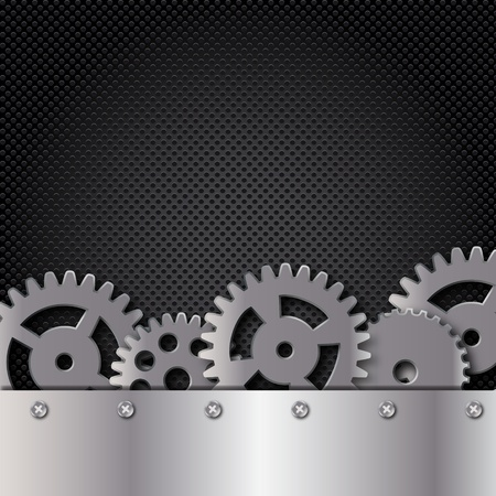 Abstract metal and glass background with frame and gears. Vector illustration.