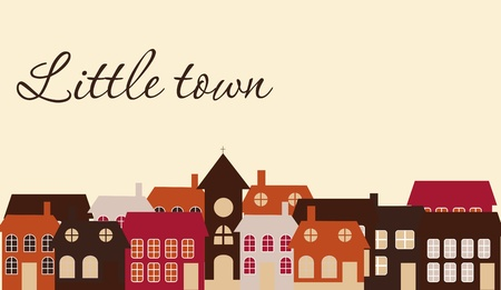 Illustration for Card with a beautiful little  town. Vector illustration - Royalty Free Image